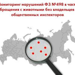 Мониторинг нарушений ФЗ №498 в части обращения с животными без владельцев и общественных инспекторов